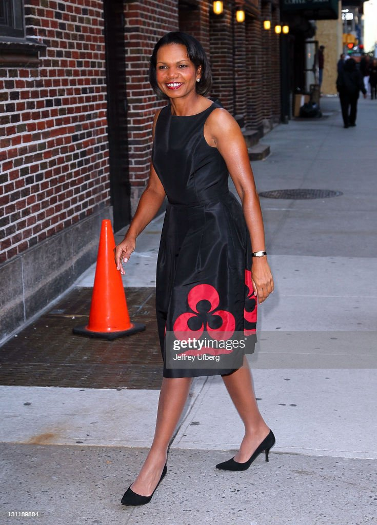 Political Scientist and Diplomat <a gi-track='captionPersonalityLinkClicked' href=/galleries/search?phrase=Condoleezza+Rice&family=editorial&specificpeople=157540 ng-click='$event.stopPropagation()'>Condoleezza Rice</a> arrives to 'Late Show With David Letterman' at the Ed Sullivan Theater on November 2, 2011 in New York City.