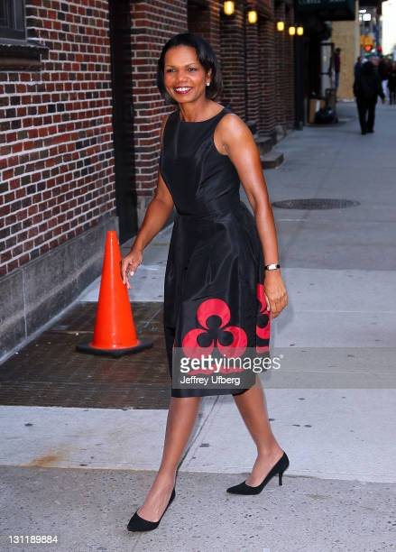 Political Scientist and Diplomat Condoleezza Rice arrives to 'Late Show With David Letterman' at the Ed Sullivan Theater on November 2 2011 in New...