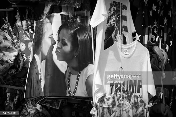 Political souvenirs for sale on sidewalk in Washington DC