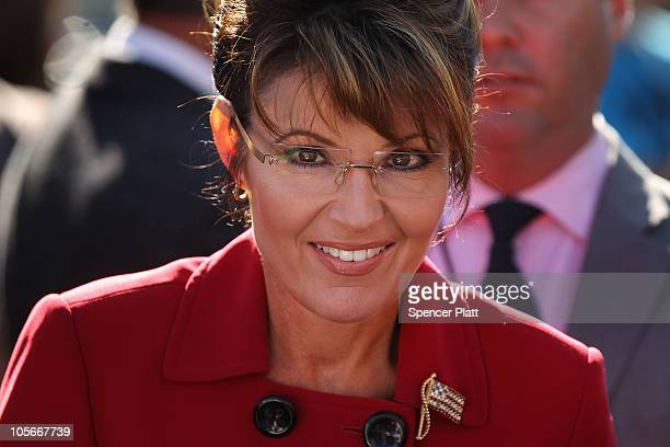 Politician and conservative activist Sarah Palin prepares to speak at the launch for the Tea Party Express national tour which is kicked off with a...