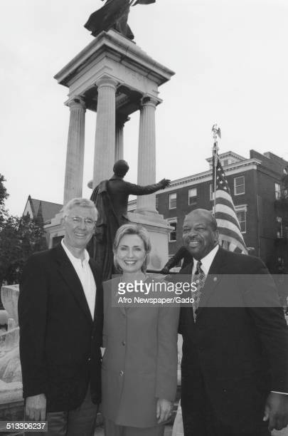 Politician and former First Lady of the United States Hillary Clinton 59th Governor of Maryland Parris Glendening and politician and Maryland...