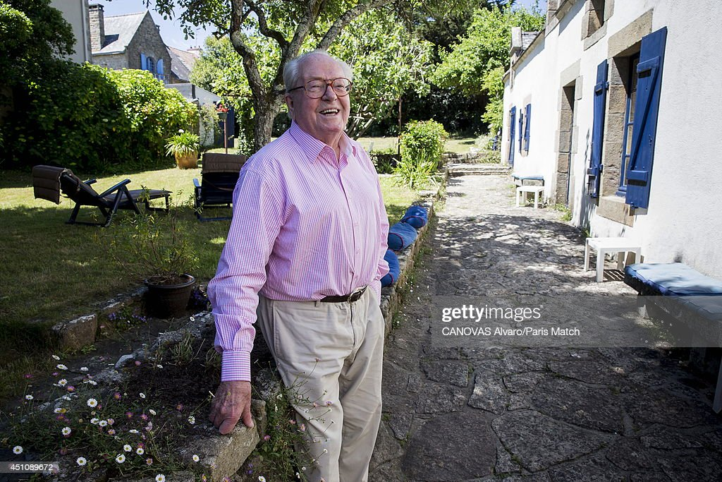 Politician and former leader of France's National Front party, <a gi-track='captionPersonalityLinkClicked' href=/galleries/search?phrase=Jean-Marie+Le+Pen&family=editorial&specificpeople=214017 ng-click='$event.stopPropagation()'>Jean-Marie Le Pen</a> is photographed for Paris Match on June 14, 2014 in Carnac, France.