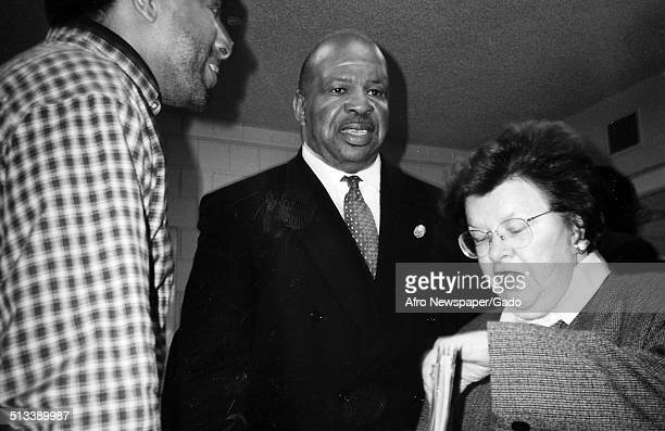 Politician and Maryland congressional representative Elijah Cummings during an election February 24 1996