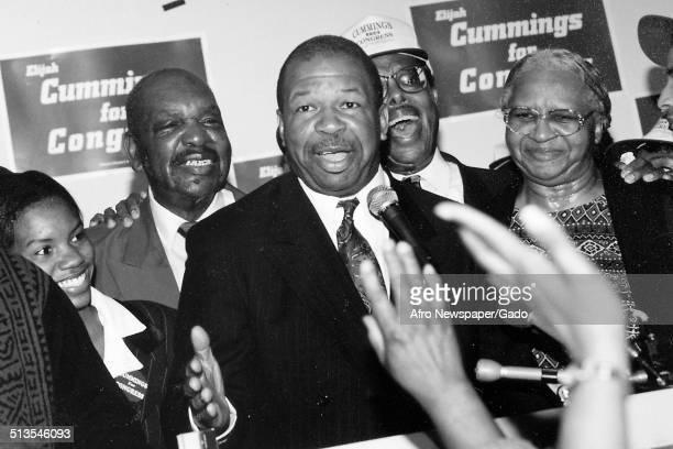 Politician and Maryland congressional representative Elijah Cummings at his campaign headquarters 1988