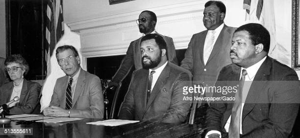 Politician and Maryland congressional representative Elijah Cummings and politicians during a political hearing 1988