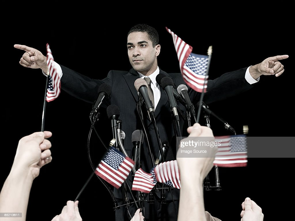Politician and supporters : Stock Photo