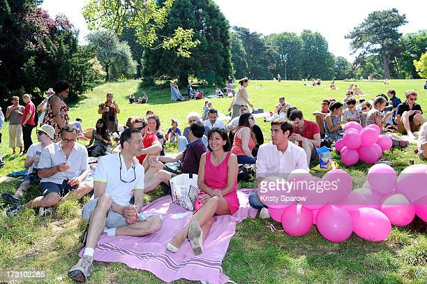Politician Anne Hidalgo attends a picnic to promote her upcoming candidacy for mayor at Parc des Buttes Chaumont on July 7 2013 in Paris France...