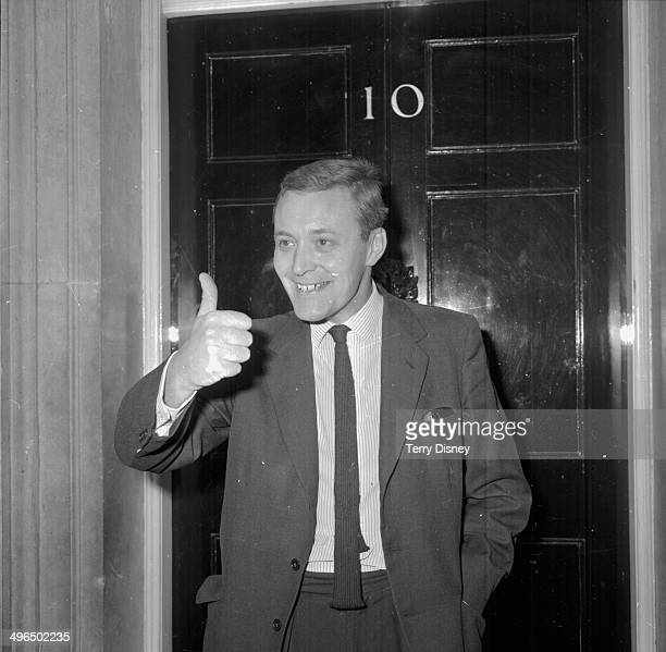 Politician Anthony 'Tony' Benn giving a thumbs up as he leaves 10 Downing Street London October 19th 1964
