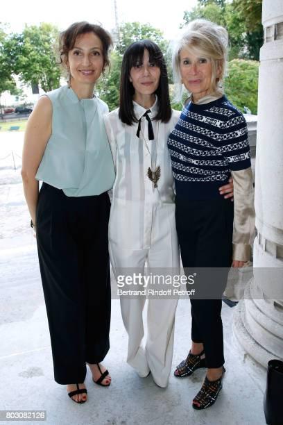 Politician Audrey Azoulay Bouchra Jarrar and Managing editor at Madame Figaro AnneFlorence Schmitt attend Artistic Director of Lanvin Bouchra Jarrar...