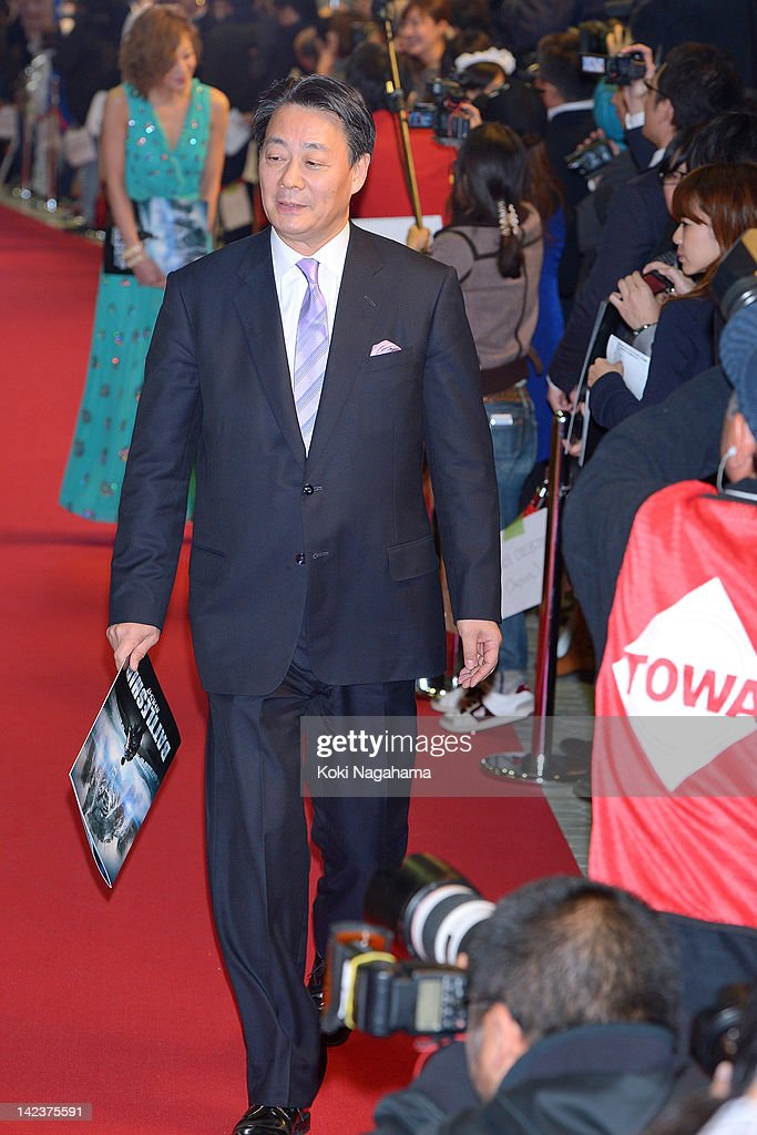 Politician <a gi-track='captionPersonalityLinkClicked' href=/galleries/search?phrase=Banri+Kaieda&family=editorial&specificpeople=7193235 ng-click='$event.stopPropagation()'>Banri Kaieda</a> attends the 'Battleship' Japan Premiere at International Yoyogi first gymnasium on April 3, 2012 in Tokyo, Japan.