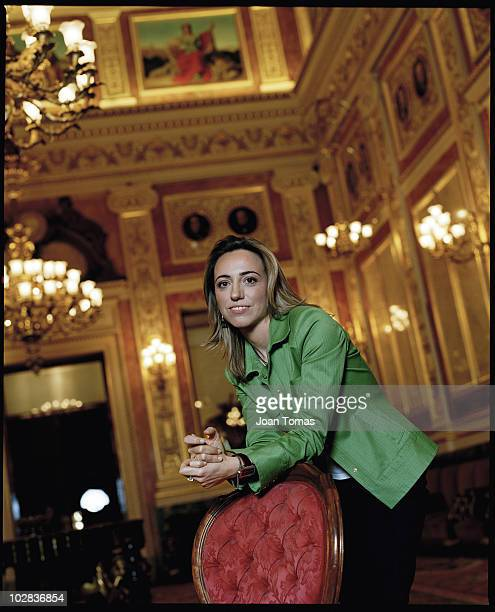 MADRID SPAIN PSOE politician Carmen Chacon poses for a portrait shoot in the Spanish parliament in Madrid Spain