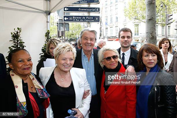 Politician Christiane Taubira wife of Henri Catherine Salvador actor Alain Delon Veronique de Villele First Deputy Mayor of Paris responsible for...