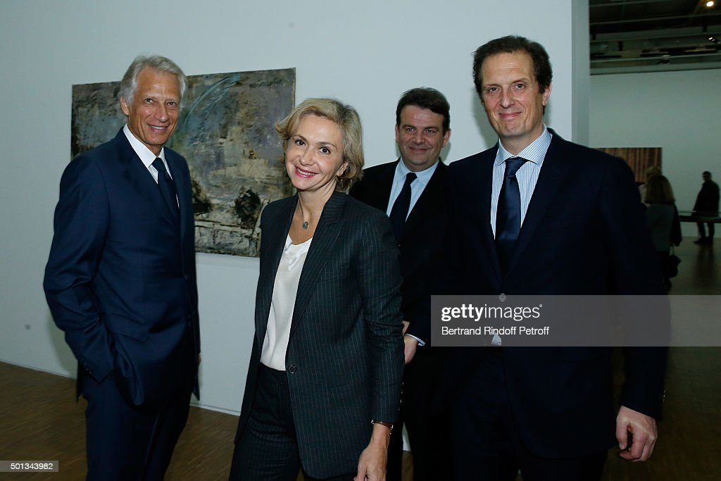 Politician <a gi-track='captionPersonalityLinkClicked' href=/galleries/search?phrase=Dominique+de+Villepin&family=editorial&specificpeople=548074 ng-click='$event.stopPropagation()'>Dominique de Villepin</a>, President of 'Region Ile-de-France' Valerie Pecresse, Deputy Thierry Solere and Politician Jerome Chartier attend the Anselm Kiefer's Exhibition : Press Preview, held at Centre Pompidou on December 14, 2015 in Paris, France.