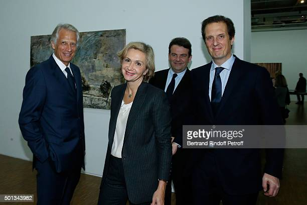 Politician Dominique de Villepin President of 'Region IledeFrance' Valerie Pecresse Deputy Thierry Solere and Politician Jerome Chartier attend the...