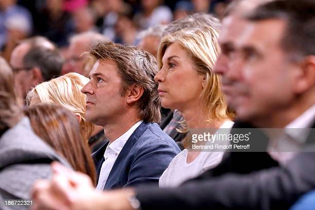 Politician Francois Baroin and actress Michele Laroque attend the final of the BNP Paribas Tennis Masters day seven at Palais Omnisports de Bercy on...