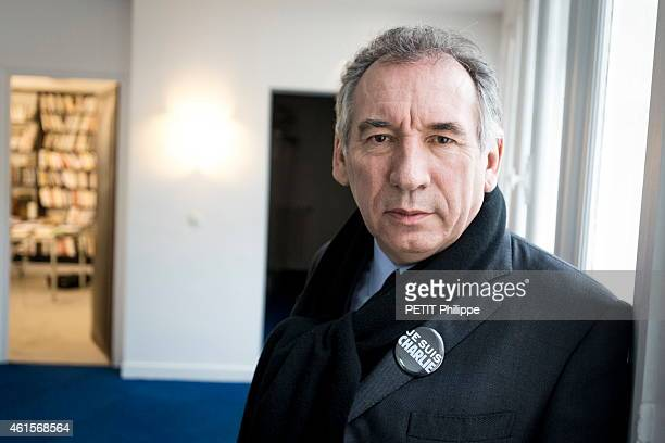 Politician Francois Bayrou leader of the Modem at his office after the attack against the magazine Charlie Hebdo on January 8 2015
