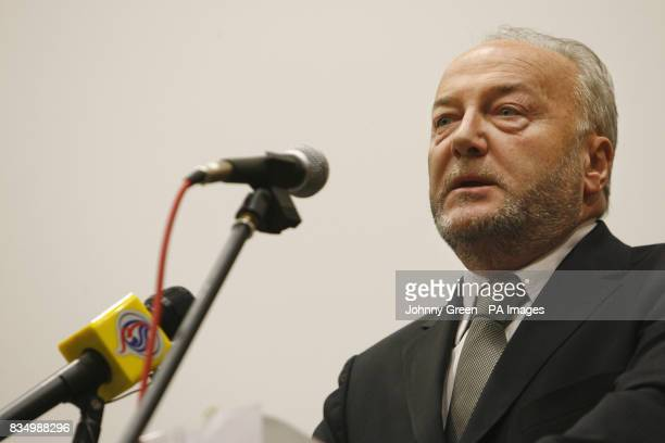 Politician George Galloway speaks at a Stop the War rally as British campaigners stepped up protests against the Gaza conflict today amid growing...