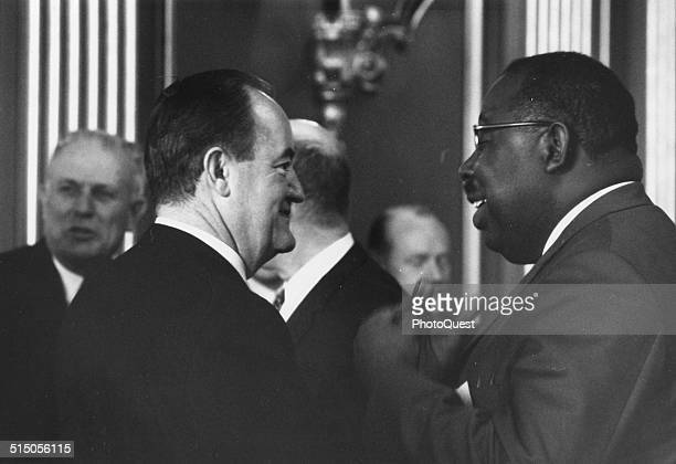 Politician Hubert H Humphrey at a Civil Rights Commission Coordinating meeting Washington DC 1965