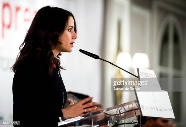 Politician Ines Arrimadas speaks during the Europa Press Breakfast with Albert Rivera and Ines Arrimadas on December 4 2017 in Madrid Spain