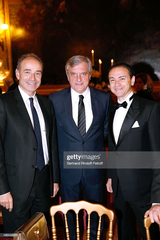 Politician Jean-Francois Cope, CEO Dior <a gi-track='captionPersonalityLinkClicked' href=/galleries/search?phrase=Sidney+Toledano&family=editorial&specificpeople=758670 ng-click='$event.stopPropagation()'>Sidney Toledano</a> and Antiquarian Mikael Kraemer attend Pasteur-Weizmann Gala at Chateau de Versailles on November 18, 2013 in Versailles, France.
