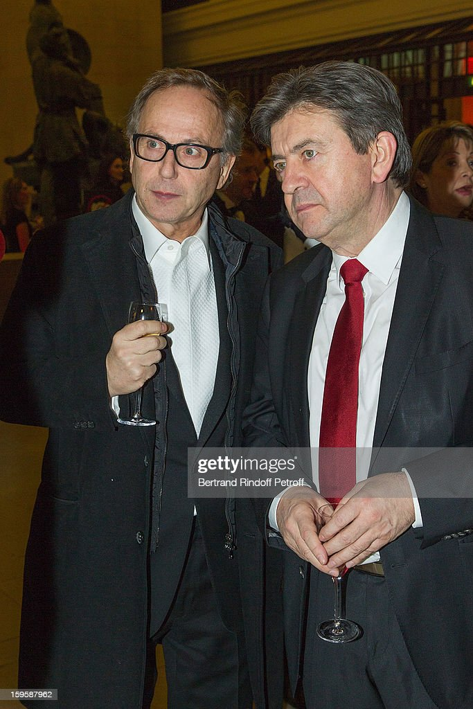 Politician Jean-Luc Melenchon (L) and actor Fabrice Luchini attend the GQ Men of the year awards 2012 at Musee d'Orsay on January 16, 2013 in Paris, France.