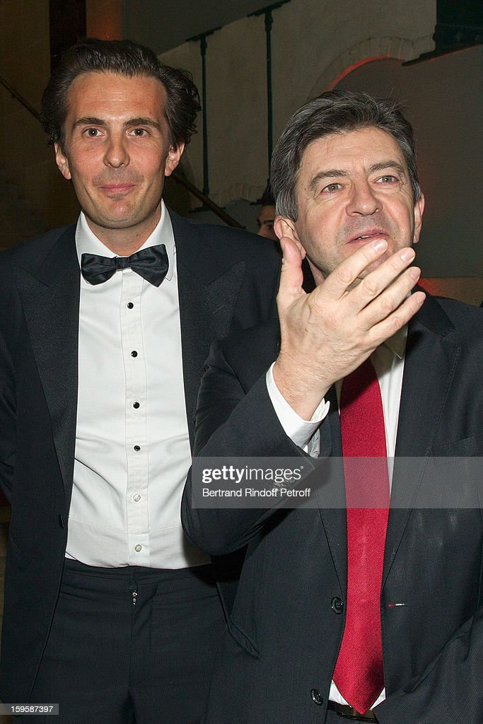Politician Jean-Luc Melenchon (R) and businessman Yannick Bollore attend the GQ Men of the year awards 2012 at Musee d'Orsay on January 16, 2013 in Paris, France.