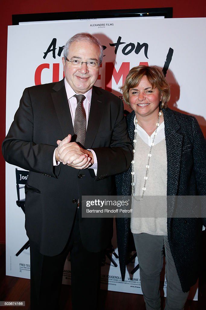 Politician <a gi-track='captionPersonalityLinkClicked' href=/galleries/search?phrase=Jean-Paul+Huchon&family=editorial&specificpeople=543988 ng-click='$event.stopPropagation()'>Jean-Paul Huchon</a> and his Companion attend the 'Arrete Ton Cinema !' Paris Premiere at Publicis Champs Elysees on January 6, 2016 in Paris, France.
