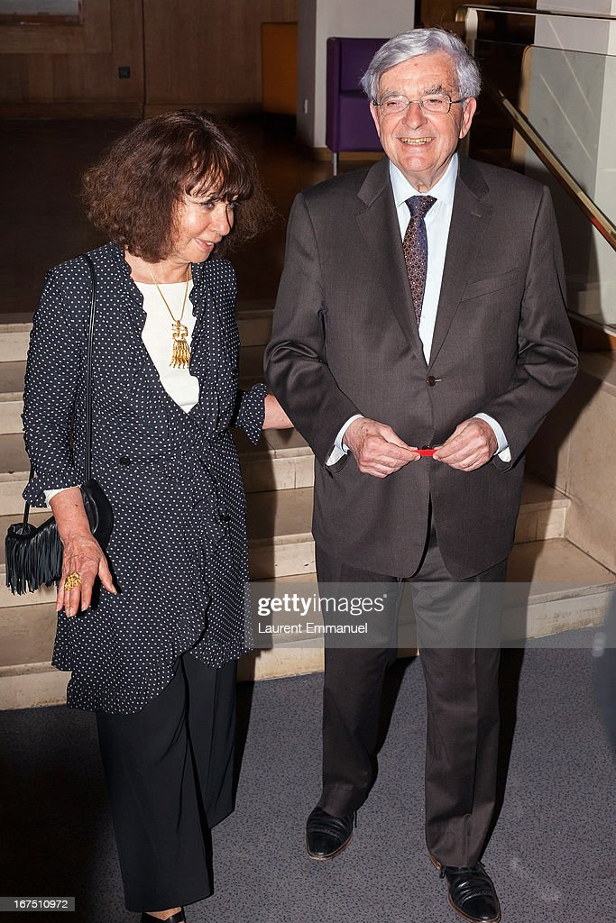 Politician <a gi-track='captionPersonalityLinkClicked' href=/galleries/search?phrase=Jean-Pierre+Chevenement&family=editorial&specificpeople=562541 ng-click='$event.stopPropagation()'>Jean-Pierre Chevenement</a> (R) and his wife Nisa Chevenement attend 'Alias Caracalla' Paris Premiere at Cinema l'Arlequin on April 25, 2013 in Paris, France.
