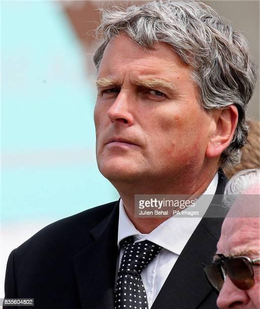 DUP Politician Jim Wells at the funeral of Pilot and retired Police Officer Hugh McKnight at the Annalong Presbyterian church Dublin