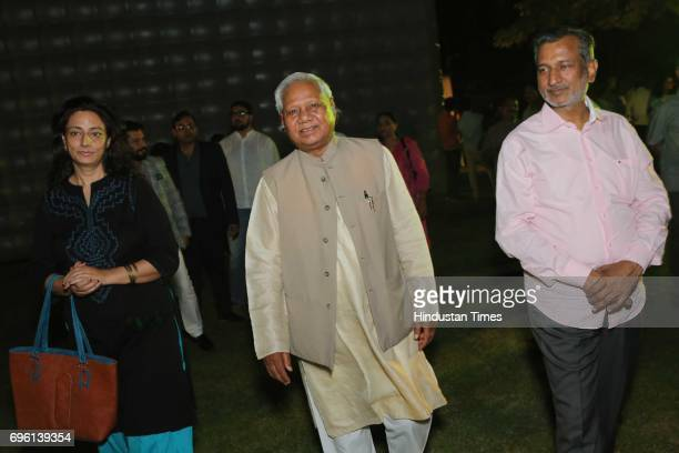 Politician Kariya Munda during the screening of a biography based on Munda's life a tribute to tribal leader and freedom fighter Birsa Munda on June...