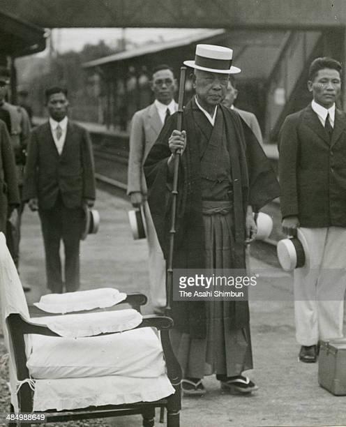 Politician Kinmochi Saionji is seen at Okitsu Station on July 7 1935 in Okitsu Shizuoka Japan Saionji was two times Prime Minister of Japan 12th and...