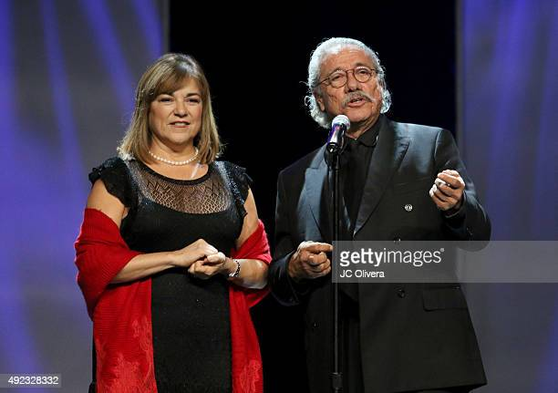 Politician Loretta Sanchez and actor Edward James Olmos speak onstage during The Los Angeles Times and Hoy 2015 Latinos de Hoy Awards at Dolby...