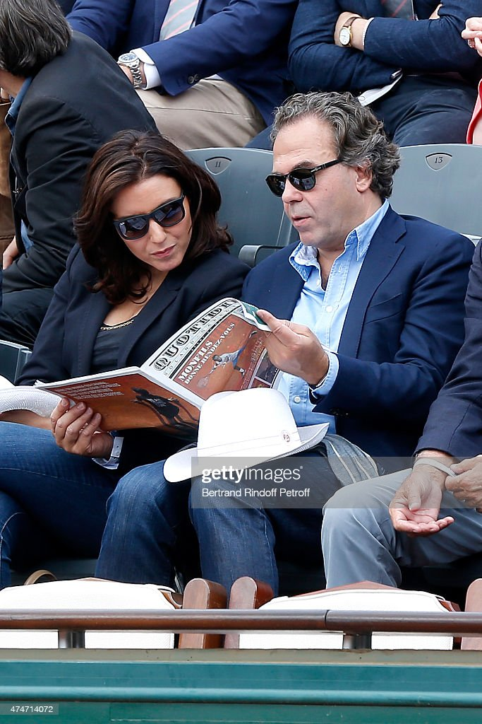 Politician <a gi-track='captionPersonalityLinkClicked' href=/galleries/search?phrase=Luc+Chatel&family=editorial&specificpeople=4292995 ng-click='$event.stopPropagation()'>Luc Chatel</a> and his companion Mahnaz Hatami attend the 2015 Roland Garros French Tennis Open - Day 2, on May 25, 2015 in Paris, France.