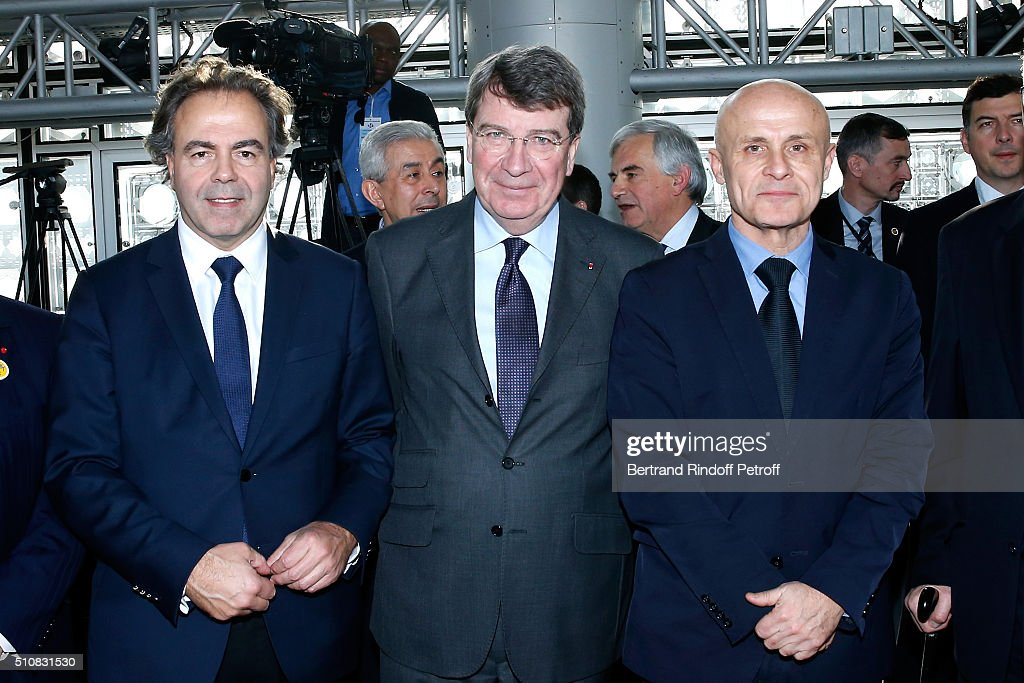 Politician <a gi-track='captionPersonalityLinkClicked' href=/galleries/search?phrase=Luc+Chatel&family=editorial&specificpeople=4292995 ng-click='$event.stopPropagation()'>Luc Chatel</a>, French Academician <a gi-track='captionPersonalityLinkClicked' href=/galleries/search?phrase=Xavier+Darcos&family=editorial&specificpeople=782029 ng-click='$event.stopPropagation()'>Xavier Darcos</a> and Olivier Poivre d'Arvor attend King Mohammed VI of Morocco and French President Francois Hollande present the project to create a Cultural Center of Morocco in 'Saint-Germain des Pres'. Held at Institut du Monde Arabe on February 17, 2016 in Paris, France.