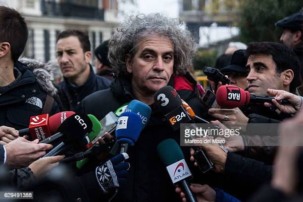 Politician Marcelo Exposito speaking to the press about the pro independence activists who are questioned in the Spanish National Court for the...