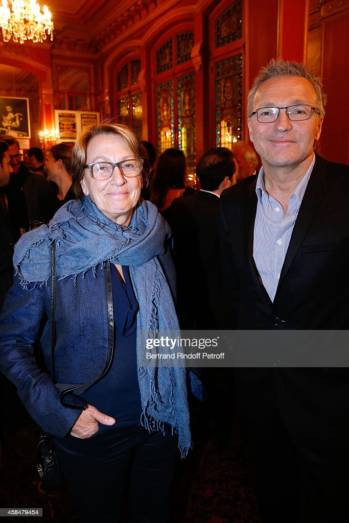 Politician <a gi-track='captionPersonalityLinkClicked' href=/galleries/search?phrase=Marylise+Lebranchu&family=editorial&specificpeople=794442 ng-click='$event.stopPropagation()'>Marylise Lebranchu</a> and Autor of the piece <a gi-track='captionPersonalityLinkClicked' href=/galleries/search?phrase=Laurent+Ruquier&family=editorial&specificpeople=2825920 ng-click='$event.stopPropagation()'>Laurent Ruquier</a> attend the 150th Representation of the 'Je prefere qu'on reste amis' : Theater Play at Theatre Antoine on November 5, 2014 in Paris, France.