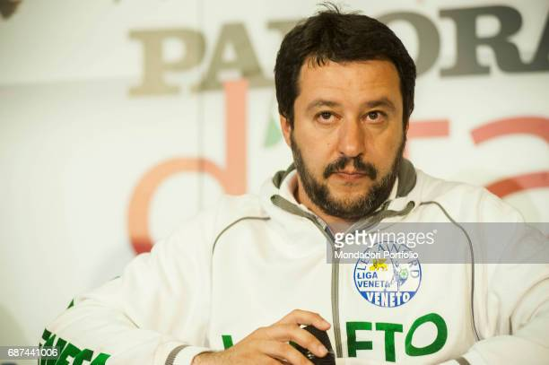 Politician Matteo Salvini interviewed by Giorgio MulŠ director of Panorama during the event 'Panorama d'Italia' Vicenza Italy 17th April 2015