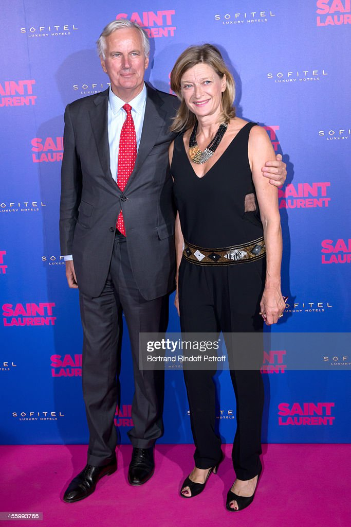 Politician <a gi-track='captionPersonalityLinkClicked' href=/galleries/search?phrase=Michel+Barnier&family=editorial&specificpeople=220639 ng-click='$event.stopPropagation()'>Michel Barnier</a> and wife Isabelle attend the 'Saint Laurent' movie premiere at Centre Pompidou on September 23, 2014 in Paris, France.