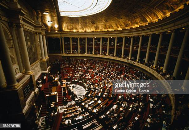 Politician Michel Rocard gives a speech before the French National Assembly The Assembly's legislative chambers are in the Palais Bourbon in Paris