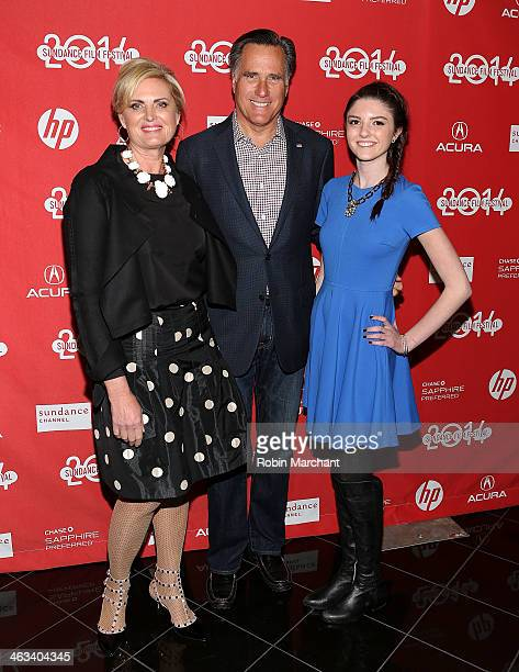 Politician Mitt Romney with wife Ann Romney and granddaughter Allie Romney attend 'Mitt' Premiere for the 2014 Sundance Film Festival at Rose Wagner...