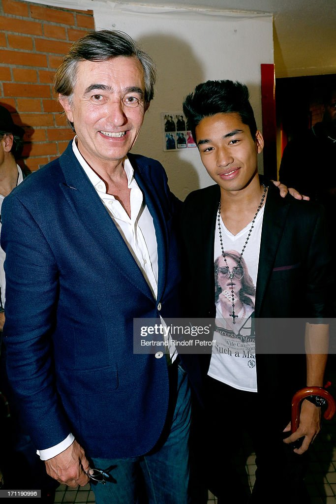 Politician <a gi-track='captionPersonalityLinkClicked' href=/galleries/search?phrase=Philippe+Douste-Blazy&family=editorial&specificpeople=535846 ng-click='$event.stopPropagation()'>Philippe Douste-Blazy</a> with his son Pierre Eliot backstage after the last concert in Paris of Patrick Bruel, held at Palais Omnisports de Bercy on June 22, 2013 in Paris, France.
