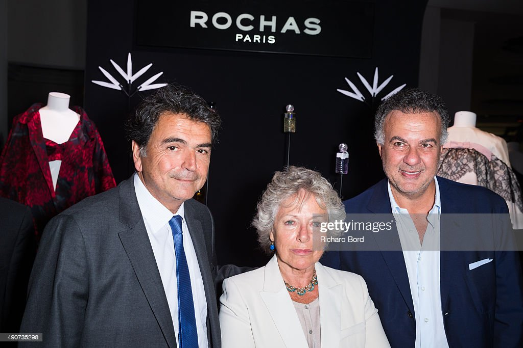 Politician <a gi-track='captionPersonalityLinkClicked' href=/galleries/search?phrase=Pierre+Lellouche&family=editorial&specificpeople=710423 ng-click='$event.stopPropagation()'>Pierre Lellouche</a>, Marcel Rochas' daughter Sophie Rochas and Interparfums Co-Founder Jean Madar attend the Rochas 90th Anniversary Cocktail as part of the Paris Fashion Week Womenswear Spring/Summer 2016 on September 30, 2015 in Paris, France.