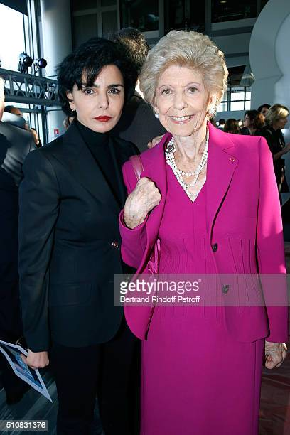 Politician Rachida Dati and Permanent Secretary of 'Academie Francaise' Helene Carrere d'Encausse attend King Mohammed VI of Morocco and French...