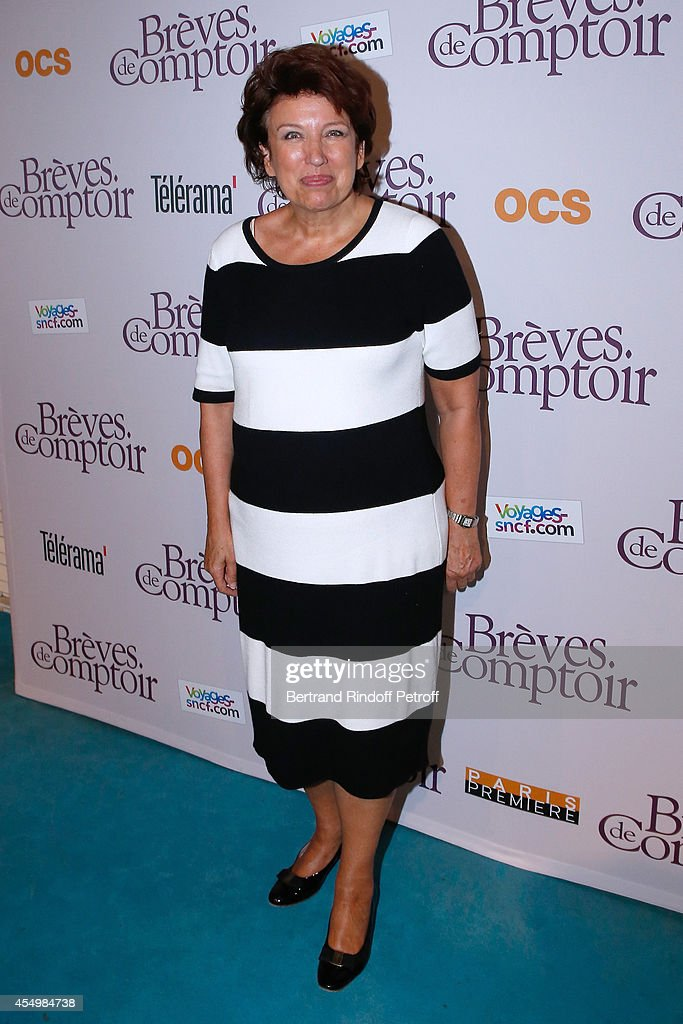 Politician <a gi-track='captionPersonalityLinkClicked' href=/galleries/search?phrase=Roselyne+Bachelot&family=editorial&specificpeople=2369544 ng-click='$event.stopPropagation()'>Roselyne Bachelot</a> attends the 'Breves de Comptoir' : movie premiere at Theatre du Rond Point on September 8, 2014 in Paris, France.
