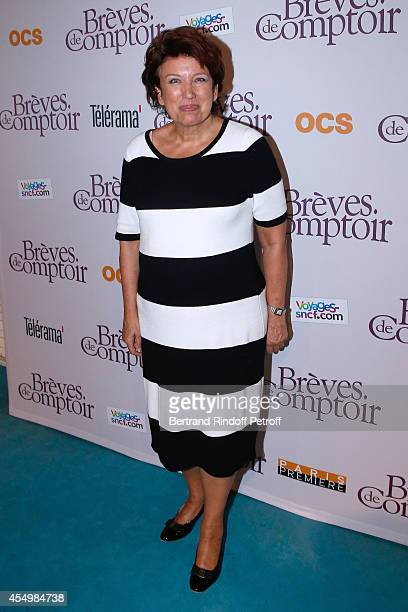 Politician Roselyne Bachelot attends the 'Breves de Comptoir' movie premiere at Theatre du Rond Point on September 8 2014 in Paris France