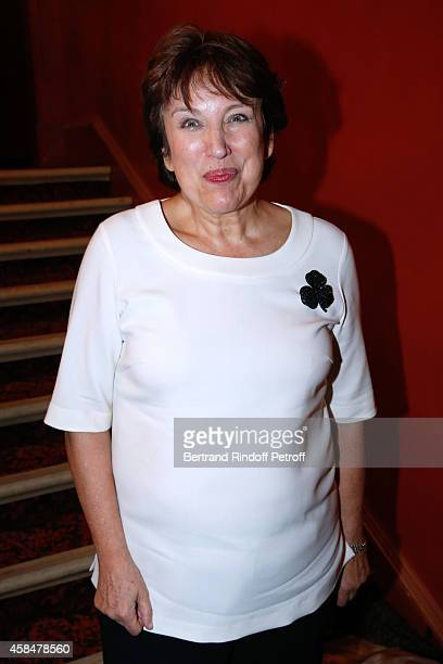 Politician Roselyne Bachelot Narquin attends the 150th Representation of the 'Je prefere qu'on reste amis' Theater Play at Theatre Antoine on...
