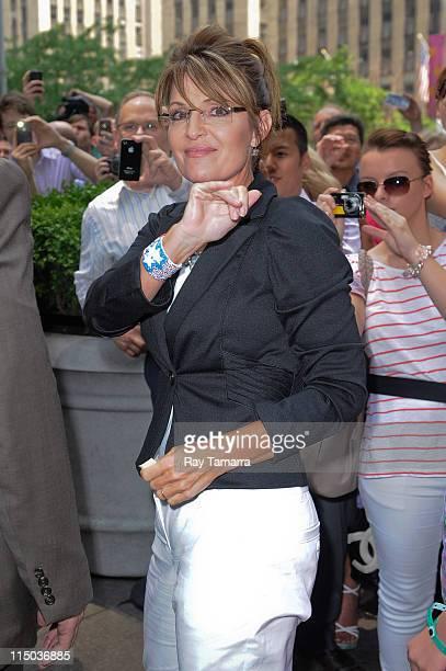 Politician Sarah Palin leaves the Fox Studios on June 1 2011 in New York City