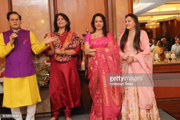 Politician T Subbarami Reddy Shobana Kamineni with actors Hema Malini and Jaya Prada during a dinner party hosted by Politician T Subbarami Reddy to...