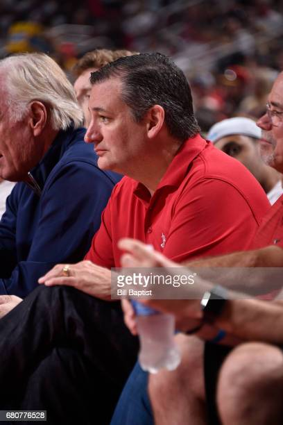 Politician Ted Cruz attends Game Four of the Western Conference Semifinals between the San Antonio Spurs and the Houston Rockets during the 2017...