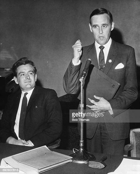 Politician William Woolfe Vice Chairman of the Scottish National Party watched by Chris Rees Vice President of Plaid Cymru at a join press conference...